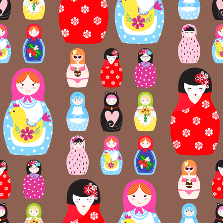 Matryoshka vector traditional russian nesting doll toy with handmade ornament figure pattern. Banque d'images - 100985208