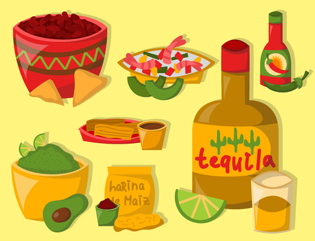 Mexican traditional food with meat avocado tequila corn spicy pepper salsa lunch sauce cuisine vector illustration Illustration