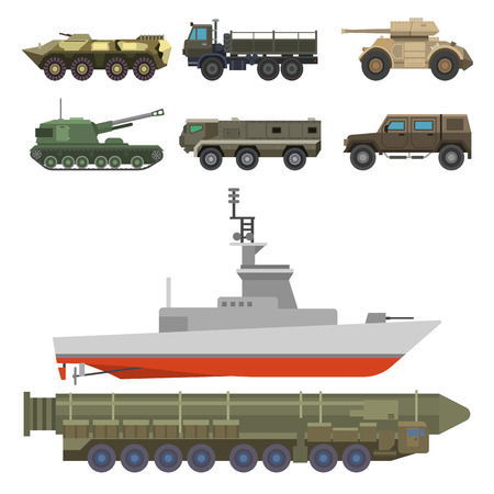 Militaire transport vector voertuig technic leger oorlogstanks en industrie armor defensie transport wapen illustratie. Stockfoto - 100985044