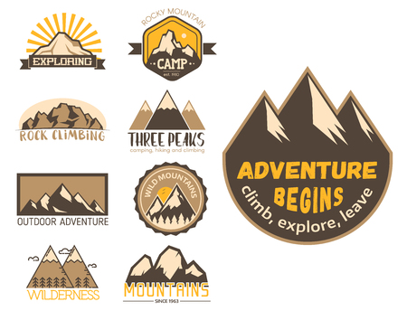 Mountain vector silhouette nature outdoor rocky snow ice top decorative landscape camping logo. Standard-Bild - 100971800