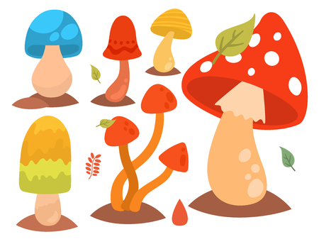 Mushrooms fungus agaric toadstool different art style design fungi vector illustration red hat.
