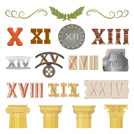 Ancient vector historical antique architecture of rome empire and roman numbers illustration. Stock Illustratie