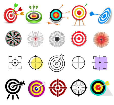 Target icon vector arrow in aim of dartboard and goal of success business strategy illustration set of sport darts game isolated on white background Illustration