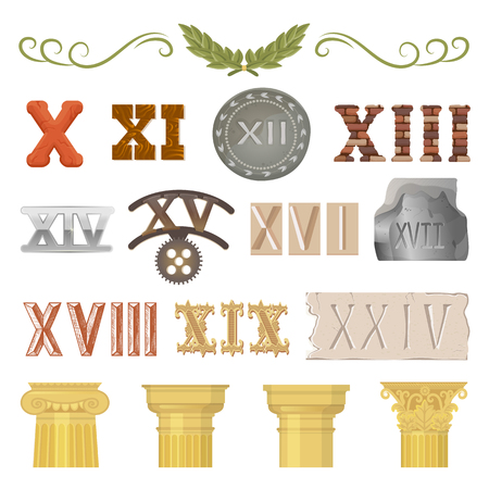 Ancient vector historical antique architecture of rome empire and roman numbers illustration ancientry set of historic vintage column or pillar and numeral isolated on white background Stok Fotoğraf - 100995234