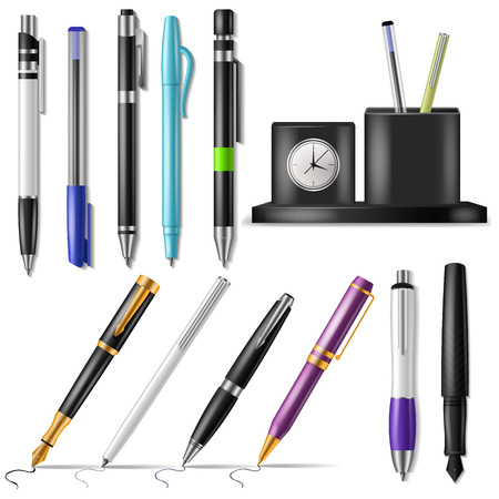 Pen vector office fountainpen or business ballpoint ink and sign of writing tools illustration set of school stationery to write isolated on white background