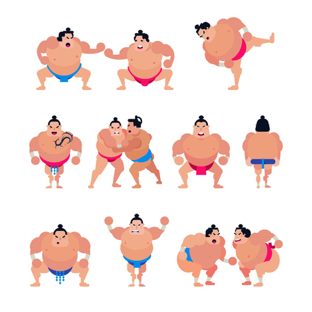 Sumo vector japanese fighter or sumowrestler character of traditional sport in Japan illustration set of fighting people in Tokyo isolated on white background Stock Vector - 101045175