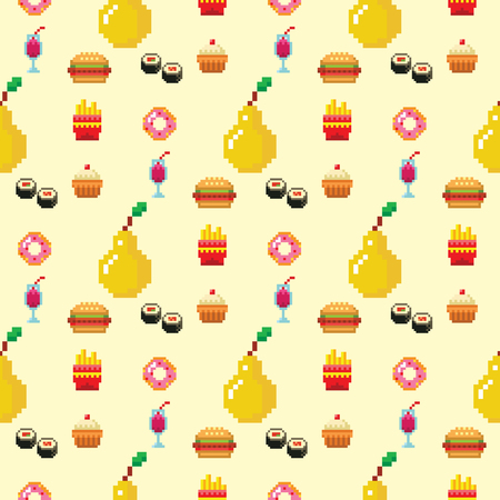 Pixel art food computer design seamless pattern background vector illustration restaurant pixelated element fast food retro game web graphic. Иллюстрация