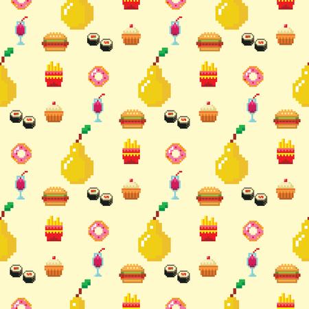 Pixel art food computer design seamless pattern background vector illustration restaurant pixelated element fast food retro game web graphic. Illustration