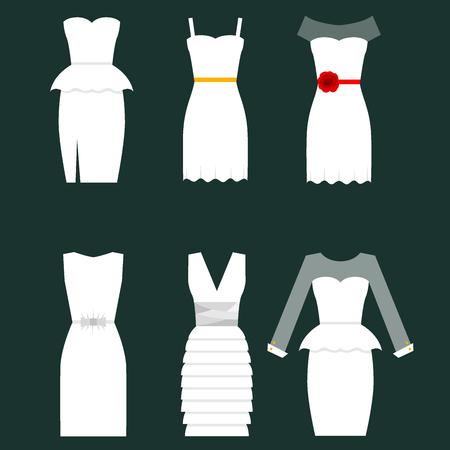 Wedding white bride vector dress elegance fashion style celebration bridal shower weddind-day composition illustration