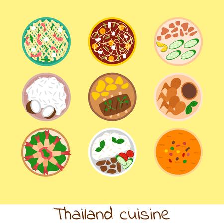 Cocina tailandesa tradicional de la cocina tailandesa de la cocina tailandesa de la cocina de los mariscos ejemplo del vector deliciosa de la pizzería . Foto de archivo - 101028323