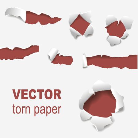 agujero rasgado del papel del agujero irregular irregular borde y la ilustración del vector de diseño de la plantilla de advertencia de color roto de estilo de línea rectangular