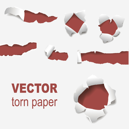 Torn edges paper hole lacerated ragged edge and crack realistic 3d style vector illustration concept grunge page template.