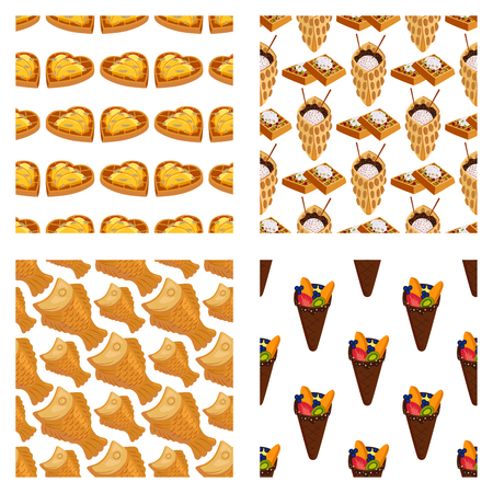 Wafer cookies seamless pattern background waffle cakes pastry cookie biscuit delicious snack cream dessert crispy bakery food vector illustration