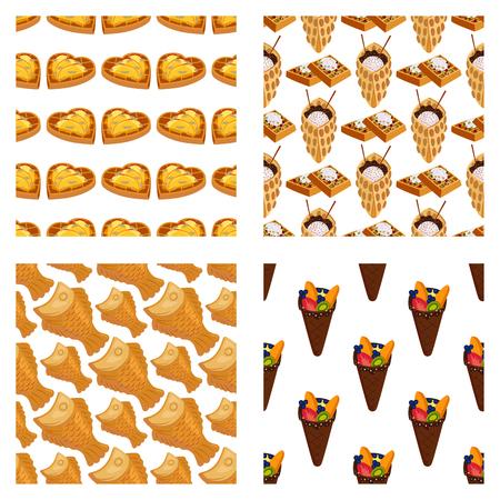 Wafer cookie sfondo senza soluzione di continuità biscotto torta cialda biscotti biscotto biscotto delizioso delizioso biscotto biscotto dolce pasticceria illustrazione vettoriale