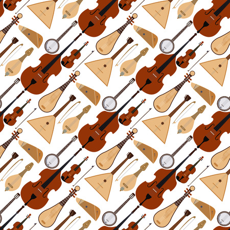 Stringed dreamed musical instruments classical orchestra art sound tool acoustic symphony seamless pattern background wooden equipment vector illustration