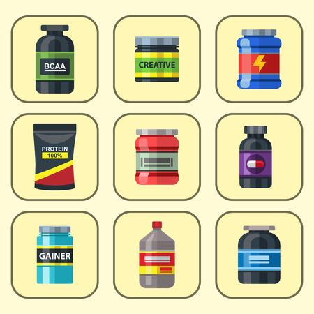 Bodybuilders gym athlete sport food diet symbols fitness nutrition protein powder drink vector illustration.