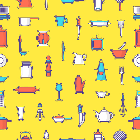 Kitchenware vector seamless pattern cookware for cooking and kitchen utensils or cutlery for kitchener backdrop illustration tableware in kitchenette wallpaper seamless pattern background. Standard-Bild - 101064610