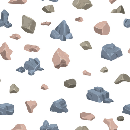 Stone rock vector rock stone of rocky mountain in rockiest mountainous cliff with stony geological materials and stoniness minerals illustration set seamless pattern background. Ilustração