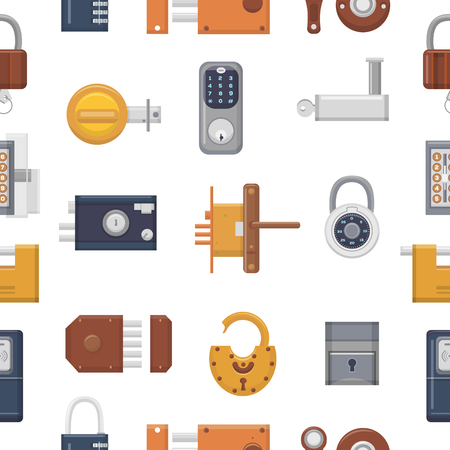 Lock vector padlock with keyhole for safety and security locking system with locked secure mechanism to interlock or lockout doorlock illustration set seamless pattern background. Illustration