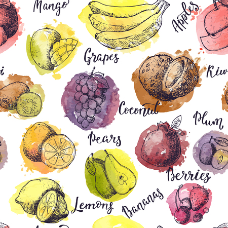 Fruits vector banane pomme fruitée et mangue exotique avec des tranches fraîches et logo aquarelle de fruits tropicaux avec lettrage signe illustration fructueuse ensemble sans soudure de fond