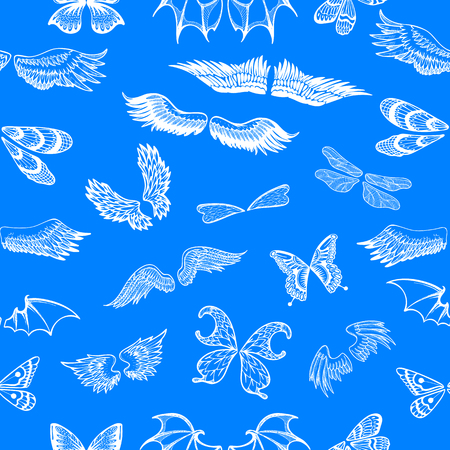 Wings vector flying winged angel with wing-case of bird and butterfly with wingspan illustration black wing-beat tattoo silhouette set seamless pattern background