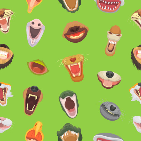 Animals mouth vector open jaw with teeth or fangs of roaring animals angry lion or cat and laughing bear with aggressive shark illustration set of animalistic beast seamless pattern background. Ilustrace