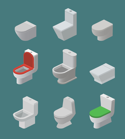 Toilet bowl and seat vector isometric icons toiletries flush and bathroom ceramic equipment or sanitary toilette in wc closet or lavatory with toiletware illustration isolated on background. Stock fotó - 101129605