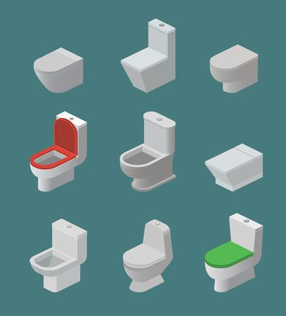 Miska ustępowa i siedzisko wektorowe izometryczne ikony przybory toaletowe i sprzęt ceramiczny w łazience lub toaleta sanitarna w szafie toaletowej lub toalecie z ilustracją przyborów toaletowych na białym tle