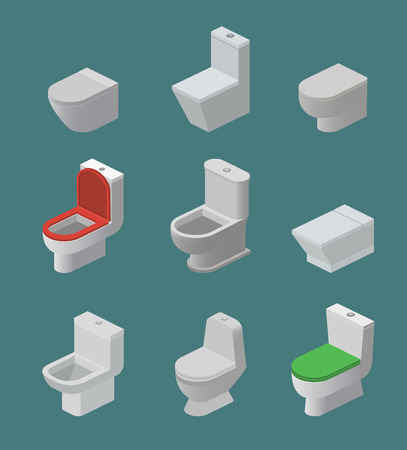 Toilet bowl and seat vector isometric icons toiletries flush and bathroom ceramic equipment or sanitary toilette in wc closet or lavatory with toiletware illustration isolated on background