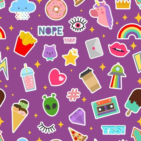 Patch stickers vector sticky patching badge or embroidery for patchwork illustration set of patchy cartoon heart rainbow or unicorn seamless pattern background. Иллюстрация