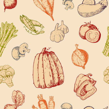 Vegetables hand draw sketch vector vegetable icons. Tomato or carrot for vegetarians and label of healthy organic food illustration vegetated badges seamless pattern background. Ilustração