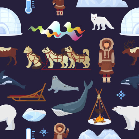 Arctic vector northern borealis Norway and husky dog sledding sledge to yurta in snowy winter illustration Polaris set of north ethnic characters animals and polar bear seamless pattern background. Vectores
