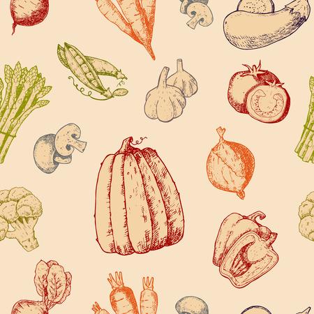 Vegetables handdraw sketch vector vegetably logotype tomato or carrot for vegetarians and label of healthy organic food illustration vegetated badges seamless pattern background Banco de Imagens - 101450722