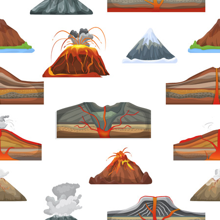 Volcano vector eruption and volcanism or explosion convulsion of nature volcanic in mountains illustration set of volcanology seamless pattern background Фото со стока