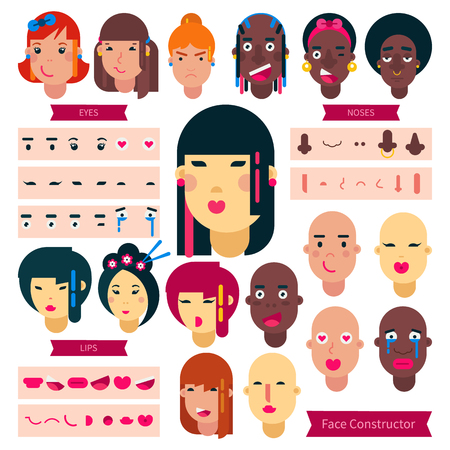 Teenager face constructor vector teen character girl or boy avatar creation illustration set of facial elements construction with hairstyle of Japanese or African youth isolated on background