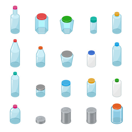 Glass jar vector empty mason glassware with lid or cover for canning and preserving illustration glassful set of container or cuppingglass bottle isolated on white background Standard-Bild - 102300347