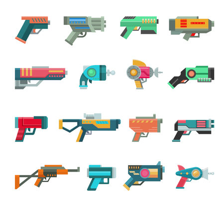 Cartoon gun vector toy blaster for kids game with futuristic handgun and children raygun of aliens in space illustration set of child pistols and laser weapon isolated on white background Stock Illustratie