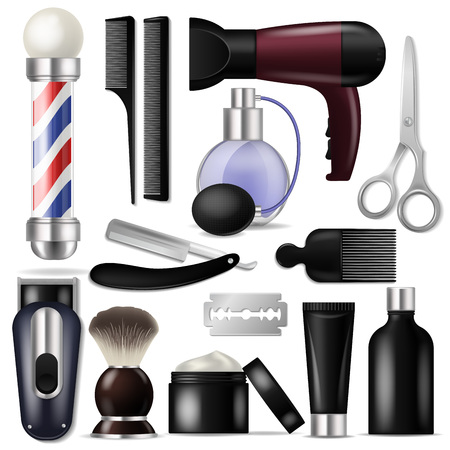 Barber vector barbershop equipment or hairdresser tools for haircutting illustration shaving-set of razor scissors and hairbrush or hair dryer isolated on white background