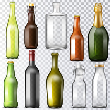 Bottle glass vector glassware of water-bottle and cupping-glass or glass-jar for drinks or beverages illustration set of wine or beer bottle-glass template isolated on transparent background