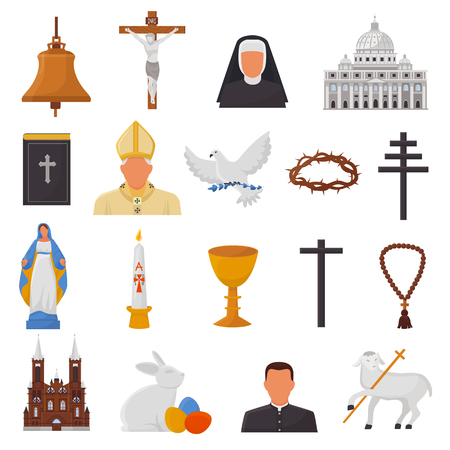 Christian icons vector christianity religion signs and religious symbols church faith christ bible cross hands praying to God biblical illustration isolated on white background Foto de archivo - 102300483