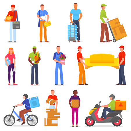 Courier vector postman character of delivery service delivering parcel box or package illustration set of deliveryman person transporting cargo isolated on white background Illustration