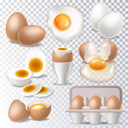 Vettore di uovo sano cibo bianco d'uovo o tuorlo in portauovo per colazione illustrazione set di guscio d'uovo o ingredienti a forma di uovo isolati su priorità bassa bianca