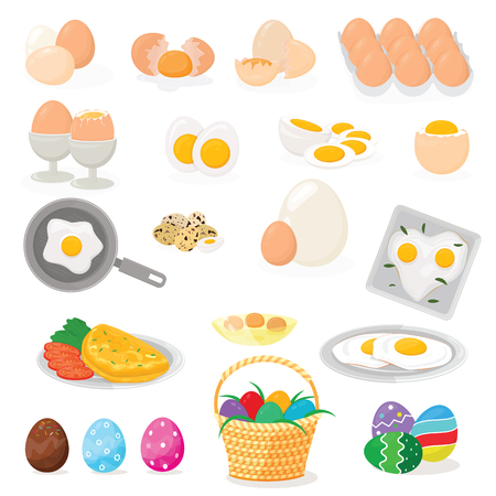 Nourriture de Pâques de vecteur d'oeuf et blanc d'oeuf ou jaune sain dans un coquetier ou une omelette de cuisine dans une poêle pour le petit-déjeuner illustration ensemble d'ingrédients en forme de coquille d'oeuf ou d'oeuf isolé sur fond blanc