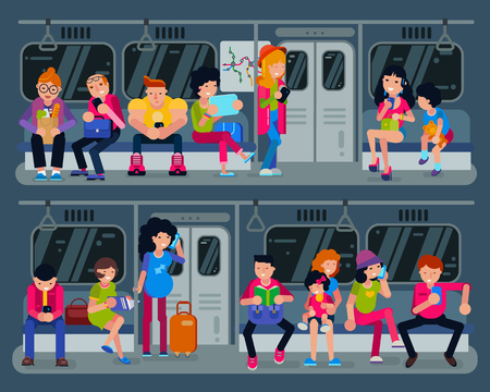 Subway vector people in metro and passengers in underground using urban public transport illustration set of characters inside underpass transportation Stock Illustration - 102547614