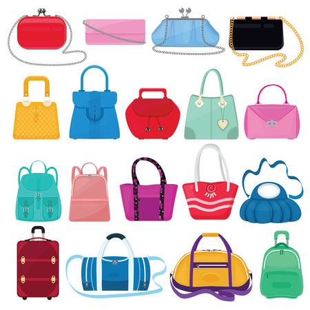 Woman bag vector girls handbag or purse and shopping-bag or clutch from fashion store illustration baggy set of shoppers bagged package and suitcase isolated on white background