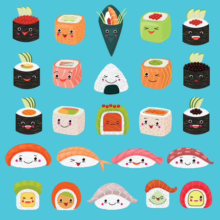 Kawaii food vector emoticon japanese sushi character and emoji sashimi roll with cartoon rice in Japan restaurant illustration asian cuisine set with facial emotions isolated on background Ilustracja