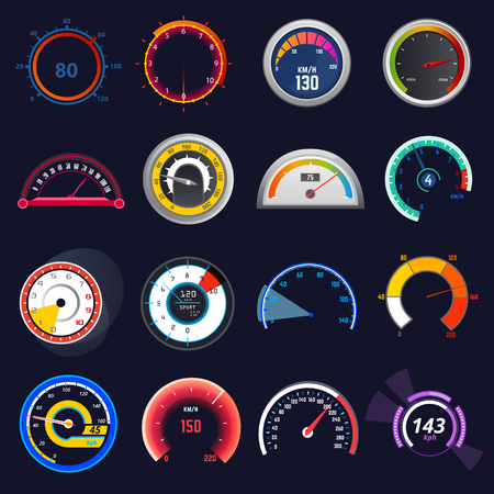 Speedometer vector car speed dashboard panel and speed-up power measurement illustration set of speed-limit control technology gauge with arrow or pointer isolated on background Illustration