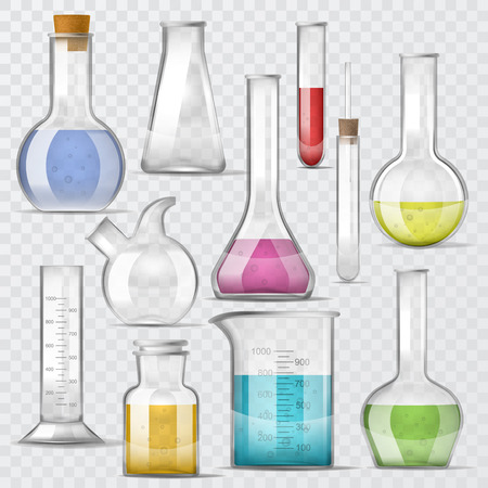 Test-tube vector chemical glass test tubes filled with liquid for scientific research or experiment illustration chemistry set of glassware or flask isolated on transparent background Vettoriali