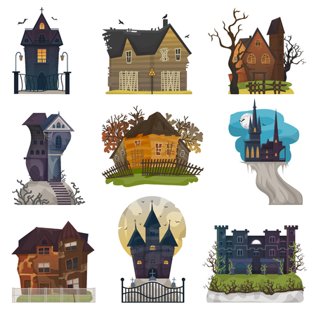 Spooky house vector haunted castle with dark scary horror nightmare on halloween moonlight mystery illustration nightly set of creepy building isolated on white background 版權商用圖片 - 102672321