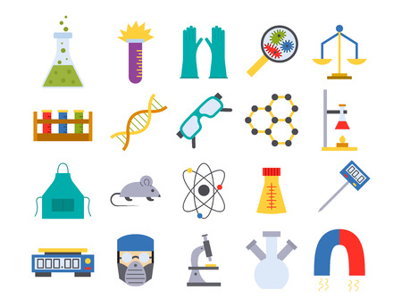 Lab vector chemical test medical laboratory scientific biology science chemistry icons illustration. Çizim
